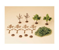 модель Auhagen 70927 Деревья, 7см. - 4шт,  13см. -4 шт. Набор для самостоятельной сборки.