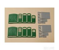модель Auhagen 80250 Модульная система. Набор ворота 2шт. -33x37 мм,  двери 6шт. -12x36 mm и 2шт. -12x28 мм,  ступени 8шт. -12x6 мм,  пандусы 2шт. -12x24 мм,  2шт. -33x37 мм. Зелёный