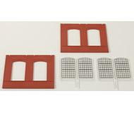модель Auhagen 80503 Модульная система. Набор стены 2325A с индустриальными окнами: 2шт. -94x86 мм. Красные