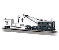 модель Bachmann 16102 250-тонный паровой кран с дополнительным вагоном. Серия Silver. Принадлежность Atchison, Topeka & Santa Fe
