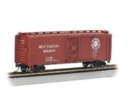 """модель Bachmann 17004 Стандартный пульмановский стальной 40' товарный вагон. Серия Silver. Принадлежность Southern Railway (""""Look Ahead Look South"""" логотип)"""