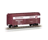 """модель Bachmann 17014 Стандартный пульмановский стальной 40' товарный вагон. Серия Silver. Принадлежность Pennsylvania (""""Merchandise Service"""" логотип)"""