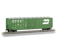 """модель Bachmann 19606 50'6"""" товарный вагон ACF со сдвижными дверями. Серия Silver. Принадлежность Burlington Northern"""