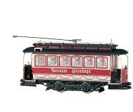 модель Bachmann 25127 Traction-Powered Closed Streetcar. Серия Spectrum. Принадлежность Christmas