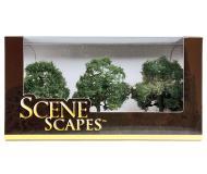 модель Bachmann 32013 Oak Trees. Серия SceneScapes. Размер от 7.6 до 8.9см. Упаковка 3 шт