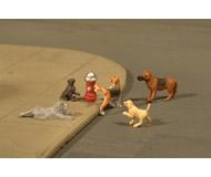 модель Bachmann 33108 Серия SceneScapes. Собаки у пожарного гидранта. Упаковка 6 шт