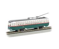 модель Bachmann 62945 Трамвай тип PCC (President's Committee Car). Принадлежность Philadelphia Transit Company. Трамваи PCC эксплуатировались с начала 1930-х годов XX века. На этом типе трамваев основано семейство трамваев «Татра»