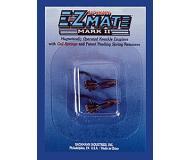 модель Bachmann 78021 Сцепки E-Z Mate Mark II с металлической фиксирующей пружинкой, аналог сцепки Kadee. Длинный хвостовик с расположением головки сцепки над осью  хвостовика. 2 шт в упаковке. Блистер-набор из 12 комплектов (всего 24 сцепки), цена указана за 12 комплектов.