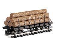 модель Bachmann 98470 Log Car. Flat w/Logs (Окрашен, без принадлежности к какой-либо дороге)