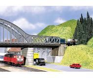 модель Faller 120534  Мост, может быть собран как для езды понизу, так и для езды поверху. Длина моста 18 см, ширина 6,5 см. Может использоваться как самостоятельно, так и как прогон длинного моста, в комплекте с такими же или другими секциями Faller, например 120536