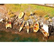 модель Faller 130513 Boats. Набор для сборки (KIT), пластмассовые детали -- 1 Each Rowboat, Sailboat & 2 Each: Rubber Dinghies, Pedal Boats & Canoes