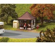"""модель Faller 180370 Upper Franconian Half-Timber Bus Shelter -- Laser-Cut Wood. Набор для сборки (KIT) - """"  4.9 x 4.9 x 5.6см."""