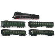 модель Fleischmann 481473 Пассажирский состав: паровоз BR 03.10 со звуковым декодером DCC и четыре вагона. Принадлежность DRG