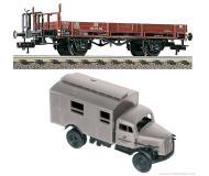 модель Fleischmann 525301  Платформа, тип X 05 с грузовиком Deutschen Bundespost. Принадлежность DB. Эпоха III