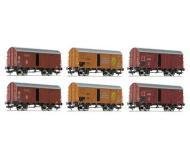 модель Fleischmann 533150  Набор из 6 товарных вагонов, тип Gr 20, DRG, DB, privater Bananentransportwagen. Принадлежность . Эпоха II-III