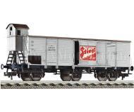 модель Fleischmann 538006 Вагон для перевозки пива с тормозной будкой STIEGL BRAUEREI. Принадлежность ÖBB