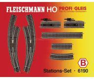 модель Fleischmann 6190 Набор рельсового материала для станции.6101- 7шт, 6103- 1шт, 6114-2шт, 6122- 6шт, 6142- 1шт.
