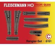 модель Fleischmann 6191 Набор рельсового материала. 6101- 6шт, 6103- 1шт, 6114-1шт, 6116- 2шт, 6138- 1шт, 6170- 1шт, 6171- 1шт.