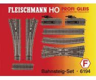 модель Fleischmann 6194 Набор рельсового материала. 6101- 10шт, 6103- 1шт, 6114-2шт, 6138- 2шт, 6170- 1шт, 6171-1шт, 6164- 1шт.