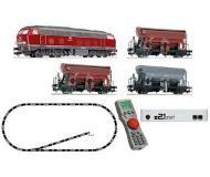 модель Fleischmann 631681  Цифровой стартовый набор: тепловоз BR 218 с DCC декодером, три хоппера, multiMaus, цифровая станция Z21start, набор рельсового материала. Принадлежность DB. Эпоха IV