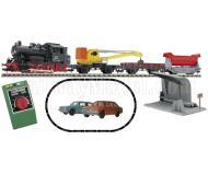 модель Fleischmann 633101 Аналоговый стартовый набор: паровоз BR 89, кран, два грузовых вагона, дополнительные аксессуары, набор рельсового материала. Принадлежность DR