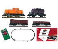 модель Fleischmann 931302 Аналоговый стартовый набор: тепловоз BR 106, три грузовых вагона, набор рельсового материала. Принадлежность Германия, DR