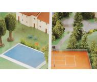 модель Herpa 520379 Airport Accessories -- 2 Swimming Pools, 2 Tennis Courts