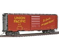 модель Kadee 5295 Полностью собранный 40' товарный вагон выпуска 1957 года тип PS-1 с 8' пульмановской дверью. Принадлежность Union Pacific #126346. Вагон с великолепной деталировкой, вплоть до установленных отдельных пружинках в тележках, тормозных шлангов и т.п.