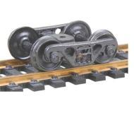 модель Kadee 555 100-тонные Roller Bearing полностью подрессоренные самоцентрирующие металлические тележки A.S.F. Установлены колесные пары 36 дюймов, тип RP-25, код 110 (ширина обода 2,8 мм), с гладкой внутренней стороной. 1 пара