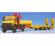 модель Kibri 10938 UNIMIOG тягач со съемным прицепом для перевозки строительного крана