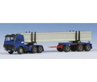 модель Kibri 13563 Тягач MB с прицепом-роспуском для перевозки длинномерных грузов.