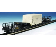 модель Kibri 16510 Depressed Center 12-Axle Heavy-Duty Flatcar w/Load - Kit -- DB (black, white) w/Large Shipping Crate Load