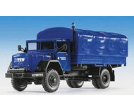 модель Kibri 18451 Emergency Vehicles - Technical Help Service (THW) - Trucks -- Magirus 2-Axle Tarp Covered Flatbed (blue)