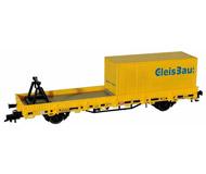 модель Kibri 26264 Low-Side Car w/Container and Conveyor Support - Ready to Run -- German Federal Railroad DB/GleissBau (yellow, red)