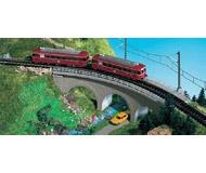 модель Kibri 37661 Curved Stone Viaduct -- Gray - Radius 1 = 192-195mm, 45 Degrees