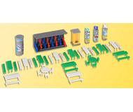 модель Kibri 38608 Marketplace Accessories -- Picnic Tables, Patio Tables, Bike Rack, Booths