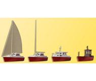 модель Kibri 39160 Assorted Boats -- (2) Sailboats, (1) Motor Launch, (1) Workboat