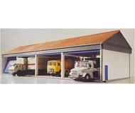 модель Kibri 8136 Гараж для 8 грузовых автомобилей, 20х11х8  см. Набор для сборки.