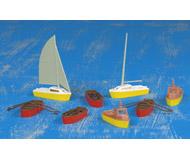 модель Kibri 9159 Набор из 4 -х лодок, 2 -х катеров и 2-х парусных лодок