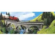 модель Kibri 9723 Радиусный каменный однопутный мост с ездой поверху, 37x8x6,8 cm. R 45гр.