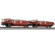модель Liliput L230113 Набор из двух вагонов для перевозки гравия, с гравием. Принадлежность  SOB. Эпоха VI