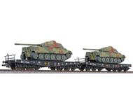 модель Liliput L230145 Две шестиосные платформы с танками. Принадлежность DR. Эпоха II