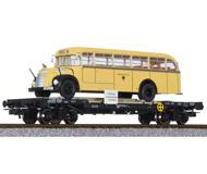 модель Liliput L235781 Четырехосная платформа с автобусом. Принадлежность  ÖBB. Эпоха IV