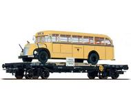модель Liliput L235784 Четырехосная платформа с автобусом Gräf+Stift. Принадлежность  ÖBB. Эпоха IV