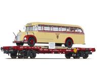 """модель Liliput L235785 Четырехосная платформа с автобусом """"Salzburger Stadtwerke"""". Принадлежность  ÖBB. Эпоха IV"""