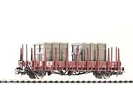 модель Piko 54474 Платформа с боковыми стойками. Принадлежность DR, Германия. Эпоха IV с двумя контейнерами. Серия Эксперт.