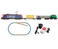 """модель Piko 57187 Стартовый набор """"Грузовой состав CARGO с электровозом BR 185"""". Принадлежность SBB, Швейцария. Аналоговый. Серия Хобби."""