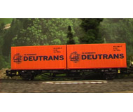 """модель Piko 57783 Платформа с 20-футовыми контейнерами """"Deutrans"""". Принадлежность DR, Германия. Эпоха IV. Серия Хобби."""