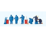модель Preiser 10729 Пожарные в костюме хим.защиты синего цвета.