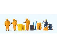 модель Preiser 10732 Пожарные в костюме хим.защиты оранжевого цвета.